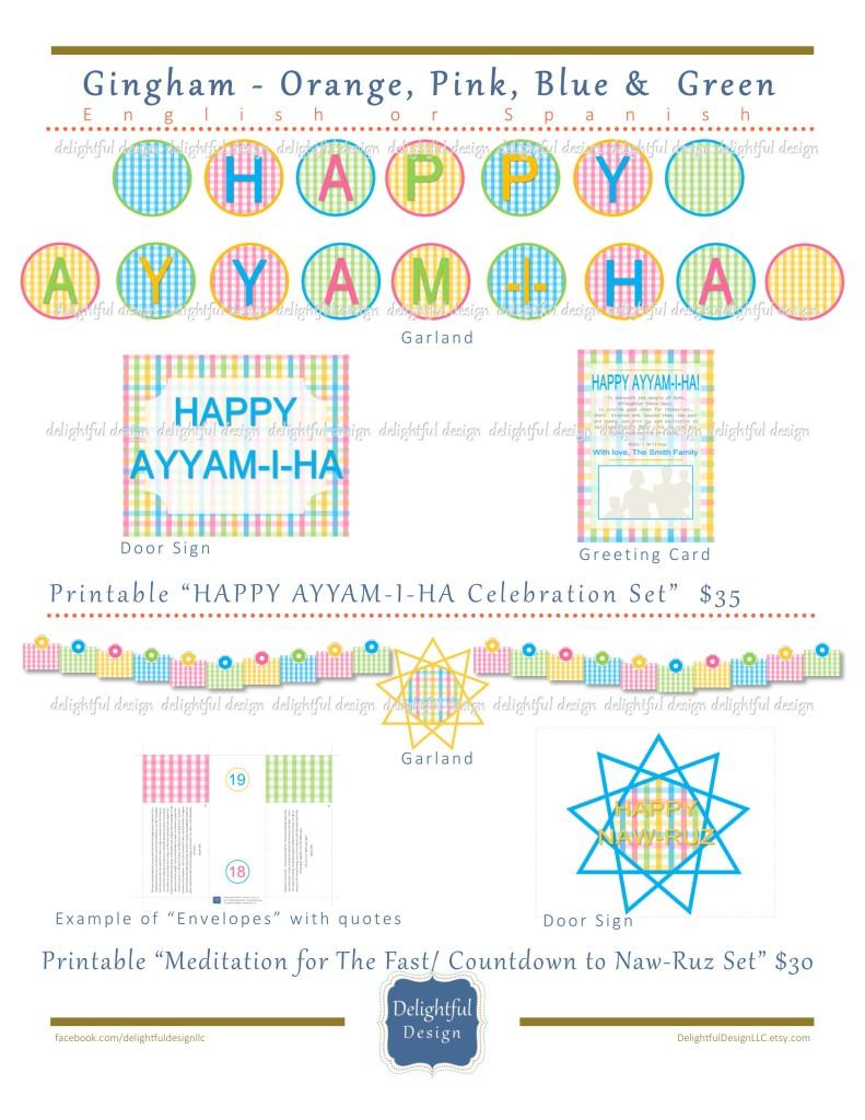 Delightful Design - Gingham Printable Ayyam-i-Ha Celebration Set