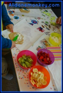 Fruit Pizzas {Cooking with Kids} - Alldonemonkey on Little Artists Blog