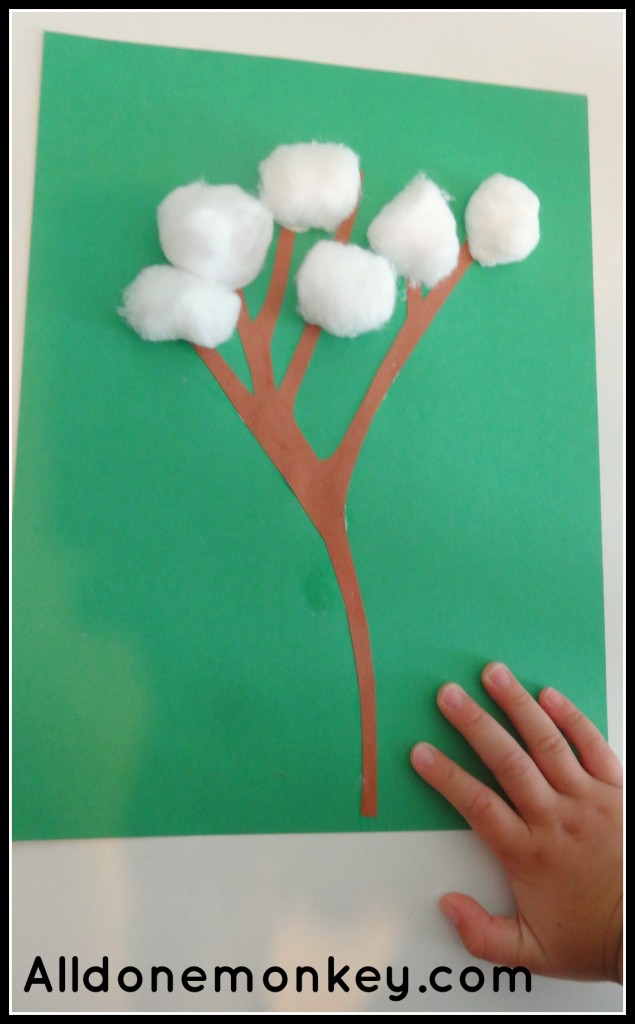 Simple Cotton Craft and Activity - Alldonemonkey.com