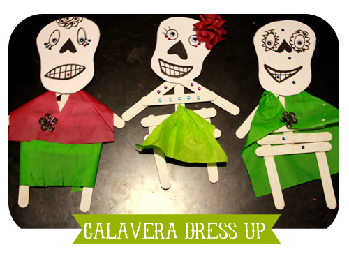 Skeletons Everywhere!  Popsicle Stick Calaveras Craft from Spanglish Baby on Alldonemonkey.com