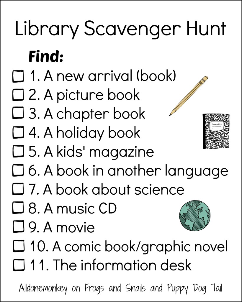Library Scavenger Hunt | Alldonemonkey on Frogs and Snails and Puppy Dog Tail