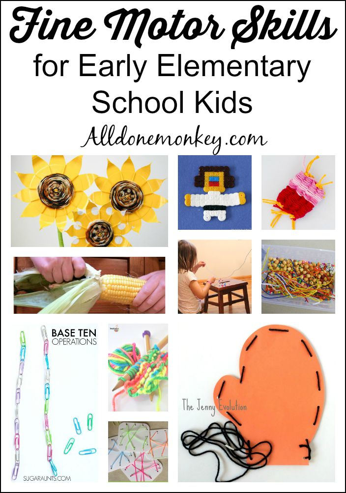Fine Motor Skills for Early Elementary School Kids | Alldonemonkey.com
