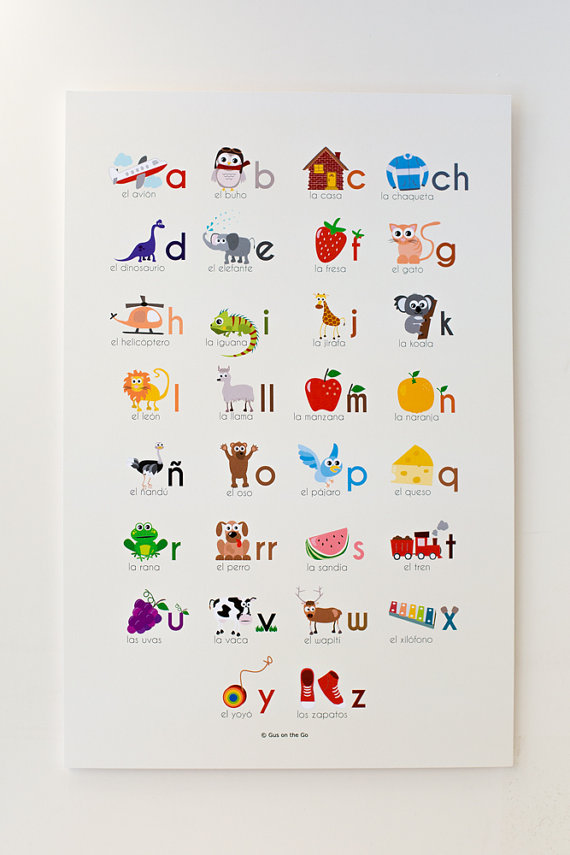 Spanish Alphabet Print : Multicultural Gifts for Kids