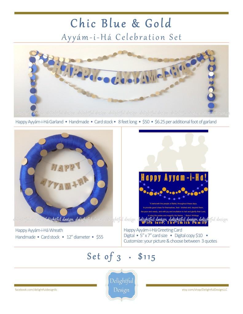 Delightful Design - Chic Blue and Gold Ayyam-i-Ha Celebration Set