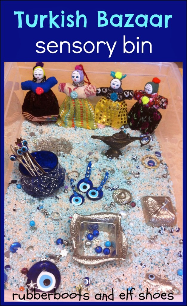 Turkish Bazaar sensory bin from rubber boots and elf shoes