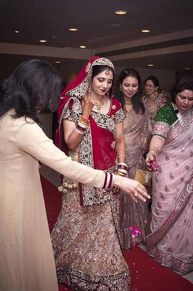 Bride entering the hall for Indian Hindu wedding