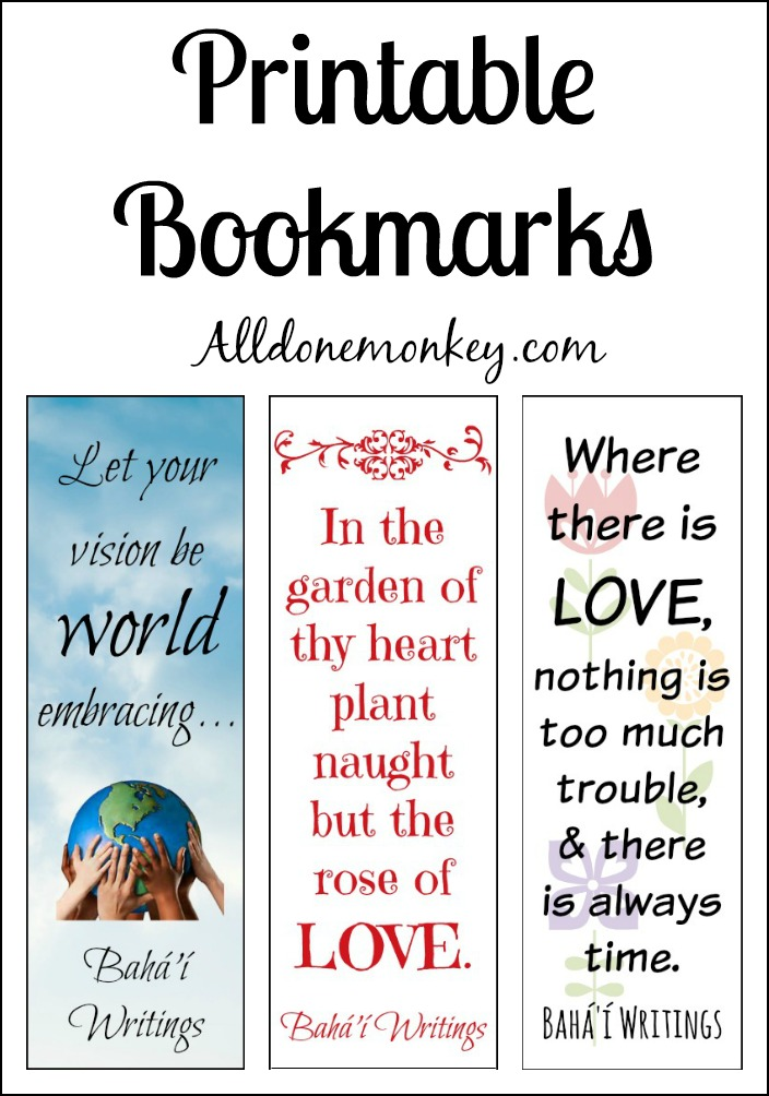 Printable Bookmarks for Ayyam-i-Ha | Alldonemonkey.com