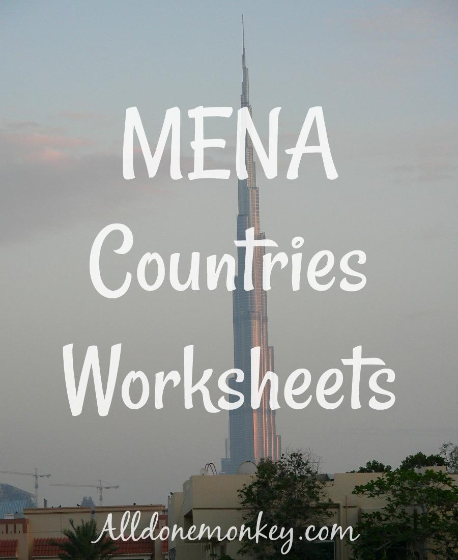 MENA Countries Worksheets {Printable} | Alldonemonkey.com