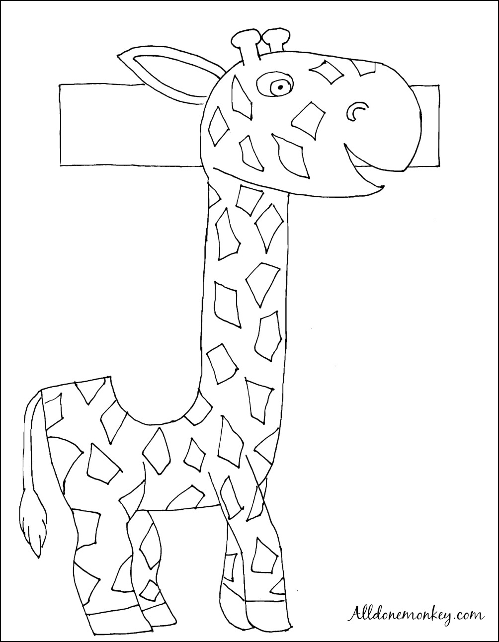spanish coloring page: j es de jirafa - all done monkey